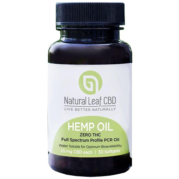 Hemp Oil Softgel, 25 mg CBD Each, 30 Softgels, Natural Leaf CBD
