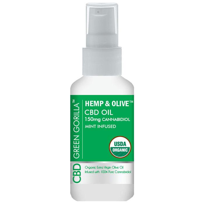 Hemp & Olive Pure CBD Oil 150 mg, Mint Flavor, 2 oz, Green Gorilla