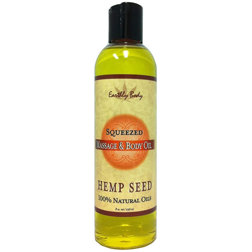 Hemp Seed Massage & Body Oil, Squeezed, 8 oz, Earthly Body