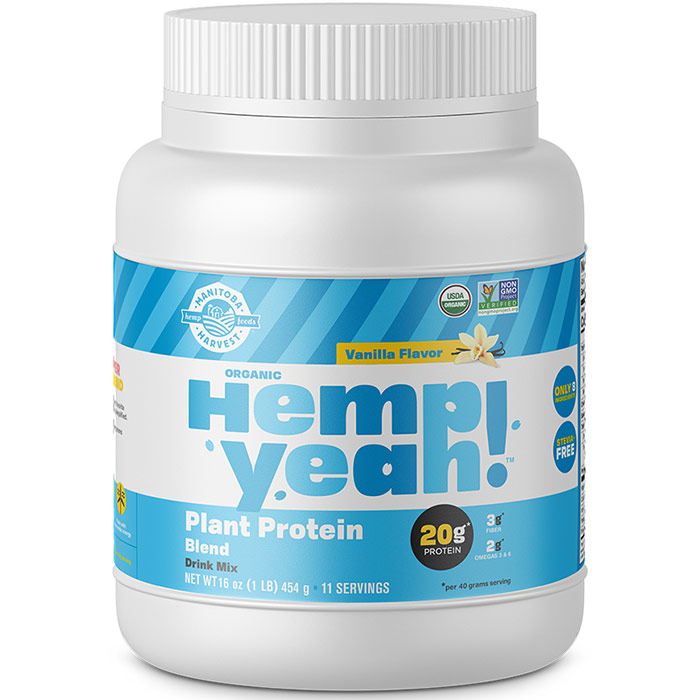 Hemp Yeah! Plant Protein Blend Drink Mix, Organic, Vanilla, 16 oz, Manitoba Harvest Hemp Foods