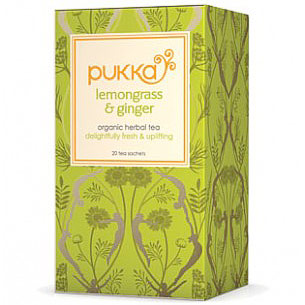 Organic Herbal Tea, Lemongrass & Ginger, 20 Tea Bags, Pukka Herbs