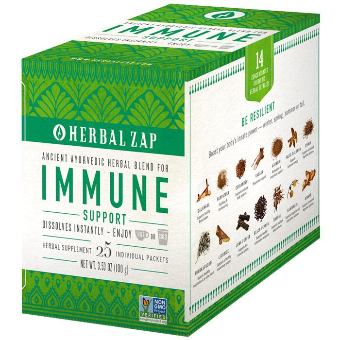 Herbal Zap Immune Support Drink Mix, Ayurvedic Herbal Blend, 25 Packets