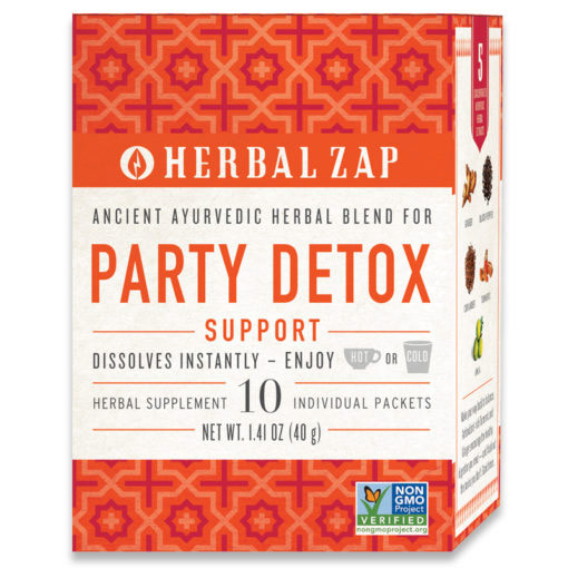 Herbal Zap Party Detox Support Drink Mix, Ancient Ayurvedic Herbal Blend, 10 Packets