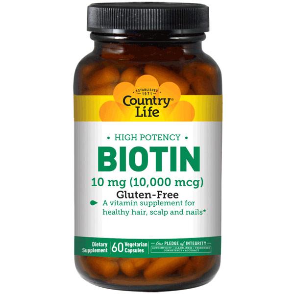 High Potency Biotin 10 mg, 120 Vegetarian Capsules, Country Life