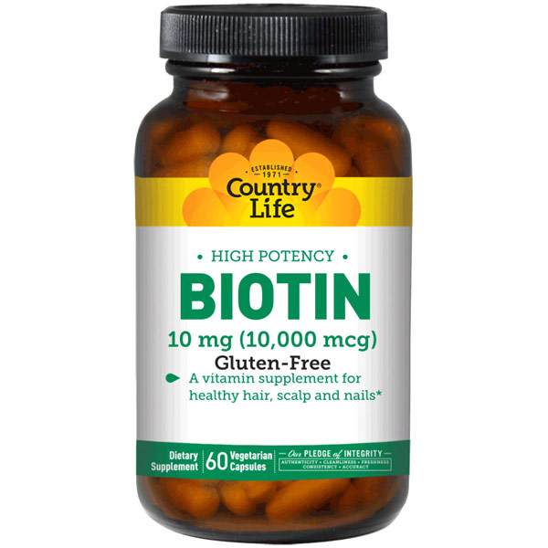 High Potency Biotin 10 mg, 60 Vegetarian Capsules, Country Life