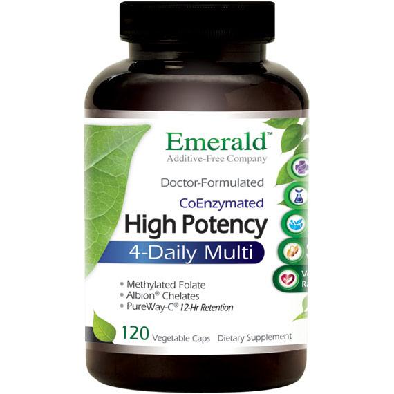 High Potency 4-Daily Multi, Multi Vitamin Formula, 120 Vegetable Capsules, Emerald Labs