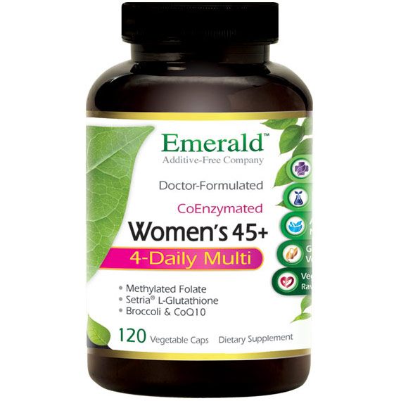 Womens 45+ 4-Daily Multi, High Potency Multi Vitamin Formula, 120 Vegetable Capsules, Emerald Labs