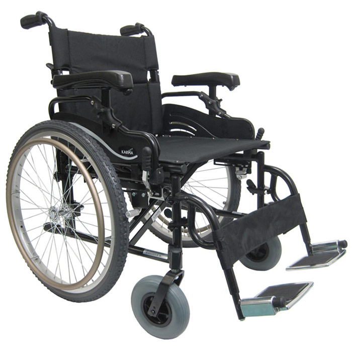 High Strength Extra Wide Light Weight Wheelchair, K0004, 22 Inch Seat Width, Heavy Duty Double Cross Brace, Karman