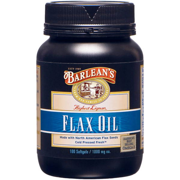 Lignan Flax Oil Soft Gels, 100 Softgels, Barleans Organic Oils