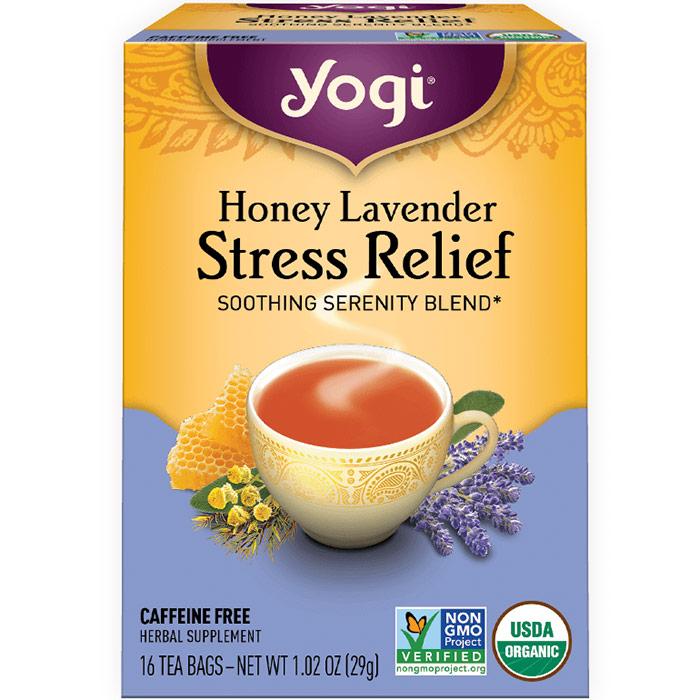 Honey Lavender Stress Relief Tea, 16 Tea Bags, Yogi Tea