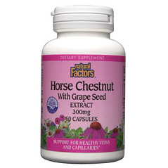 Horse Chestnut 300mg with 50mg Grape Seed 60 Capsules, Natural Factors