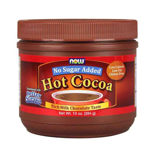 Hot Cocoa Sweetened with Better Stevia, No Sugar Added, 10 oz, NOW Foods
