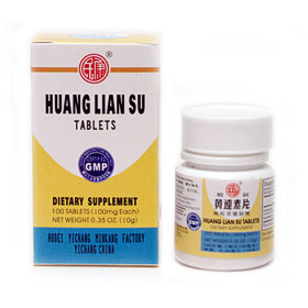 Huang Lian Su Tablets (Sugar-Coated Tablets), 100 Tablets/Bottle, 5 Boxes, Naturally TCM