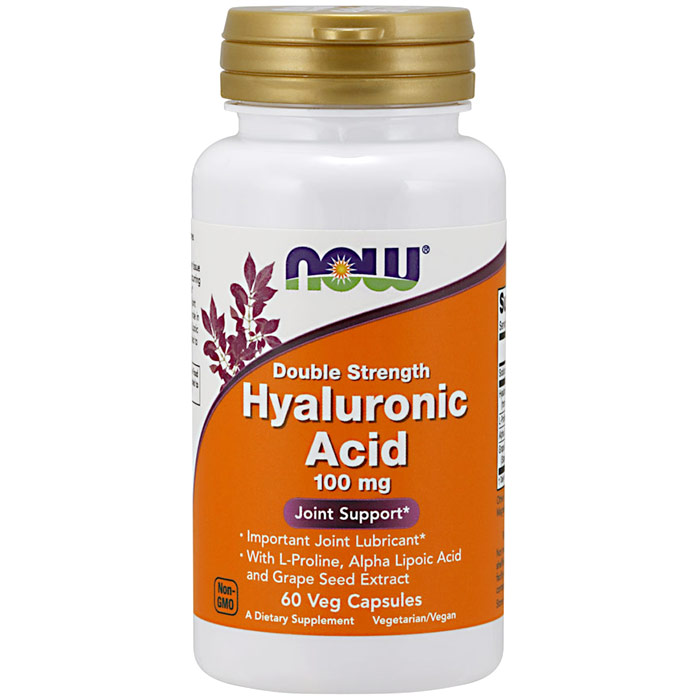 Hyaluronic Acid 100 mg 2X Plus, 60 Vcaps, NOW Foods