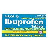 Ibuprofen 200 mg Brown, 250 Tablets, Major