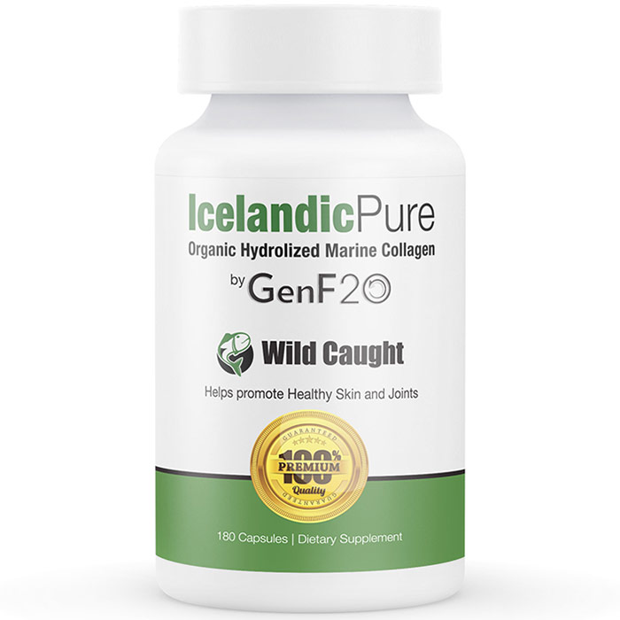 Icelandic Pure Hydrolyzed Marine Collagen by GenF20, 180 Capsules, Leading Edge Health