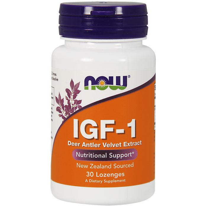 IGF-1 33 mg Deer Antler Velvet New Zealand - 30 lozenges, NOW Foods