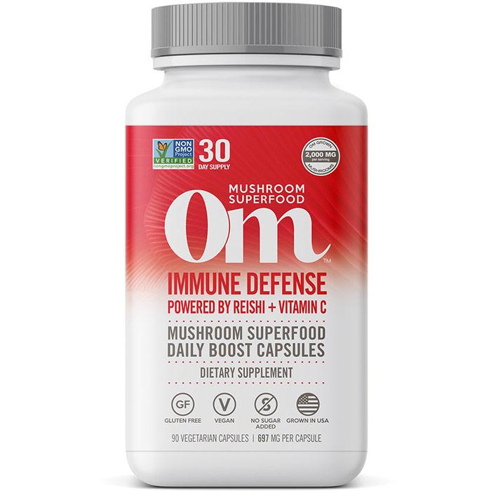 Immune Defense Mushroom Superfood Daily Boost Capsules, 90 Vegetarian Capsules, Om Organic Mushroom Nutrition