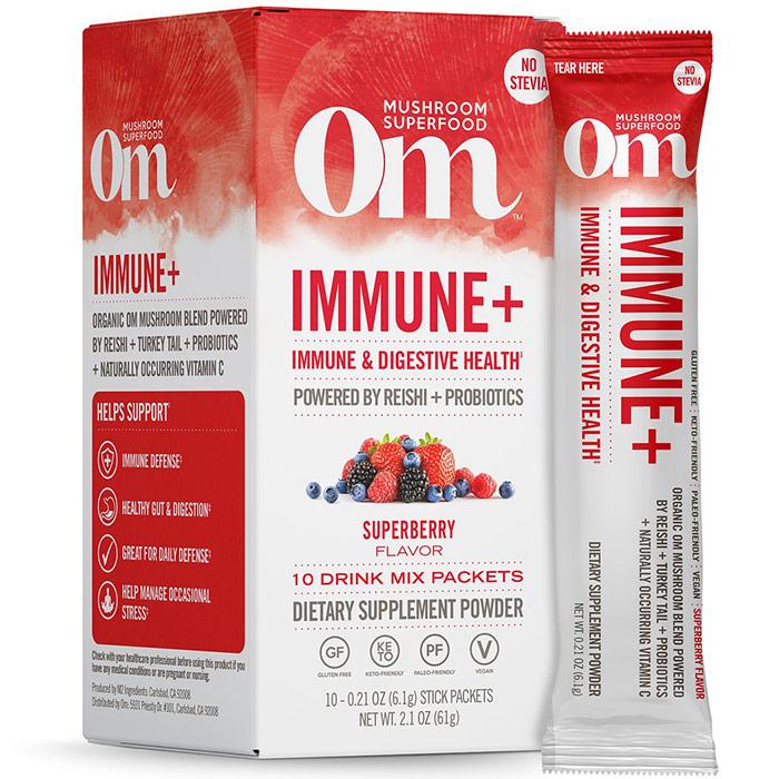 Immune+ Mushroom Superfood Drink Mix Powder Stick, 10 Packets, Om Organic Mushroom Nutrition