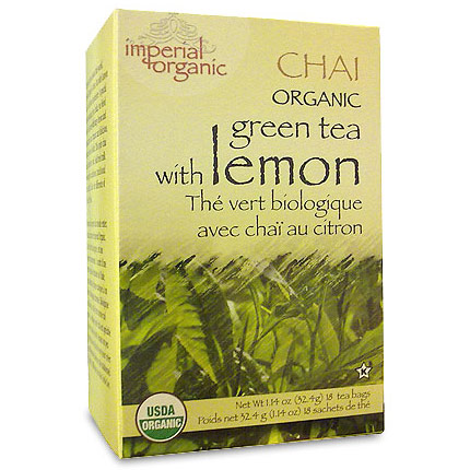 Imperial Organic Green Tea with Lemon Chai Tea, 18 Tea Bags, Uncle Lee's Tea