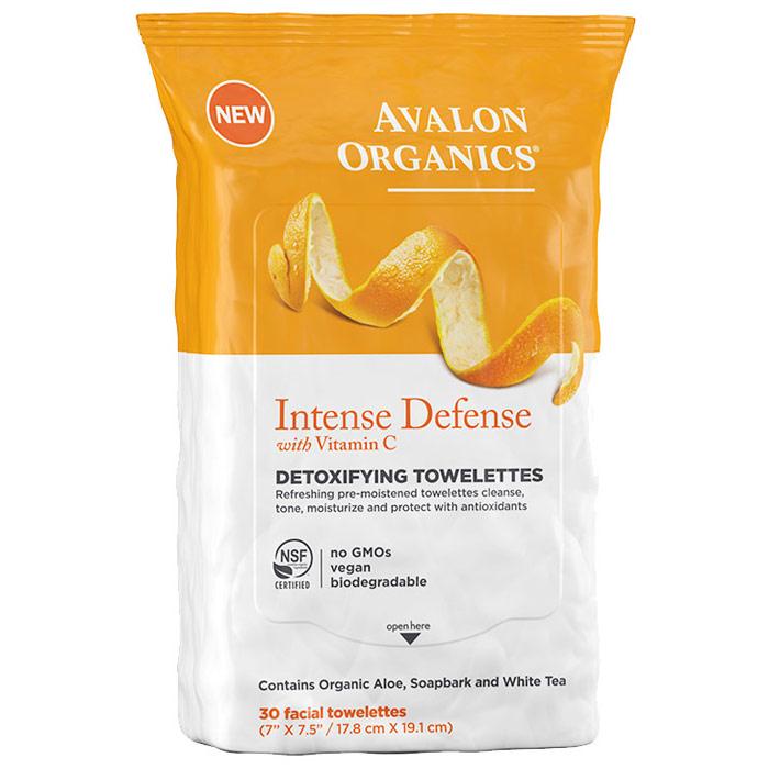 Intense Defense Detoxifying Facial Towelettes with Vitamin C, 30 ct, Avalon Organics