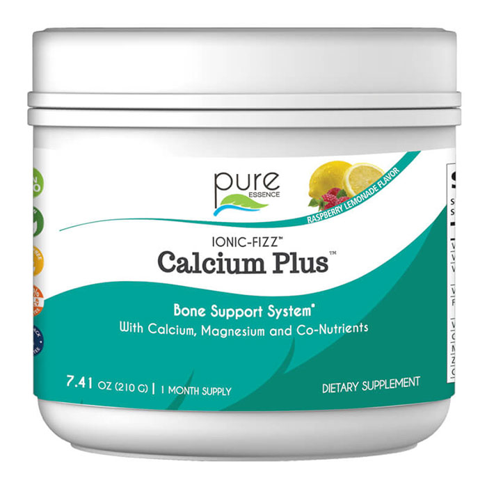 Ionic-Fizz Calcium Plus Powder - Raspberry Lemonade, 210 g, Pure Essence Labs