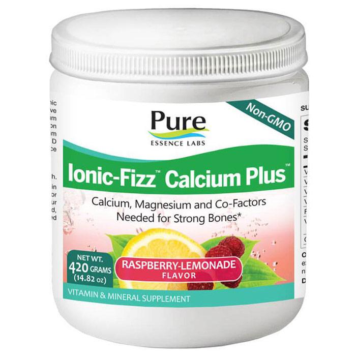 Ionic-Fizz Calcium Plus Powder - Raspberry Lemonade, 420 g, Pure Essence Labs