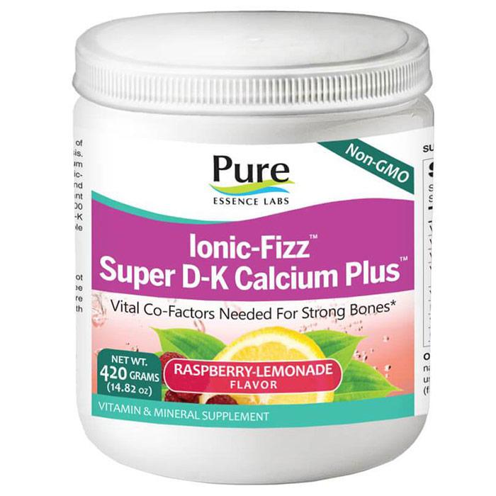 Ionic-Fizz Super D-K Calcium Plus Powder - Raspberry Lemonade, 420 g, Pure Essence Labs
