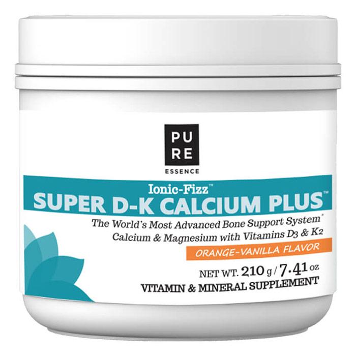 Ionic-Fizz Super D-K Calcium Plus Powder - Orange Vanilla, 210 g, Pure Essence Labs