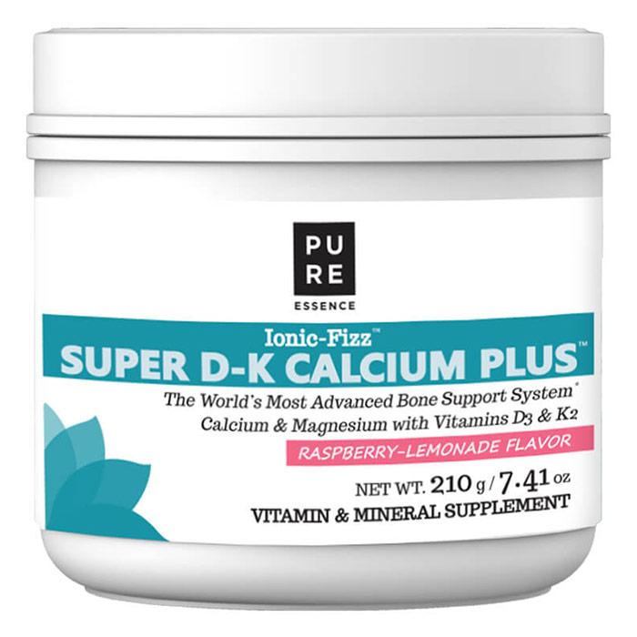 Ionic-Fizz Super D-K Calcium Plus Powder - Raspberry Lemonade, 210 g, Pure Essence Labs