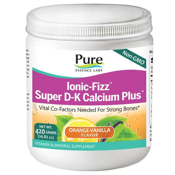 Ionic-Fizz Super D-K Calcium Plus Powder - Orange Vanilla, 420 g, Pure Essence Labs