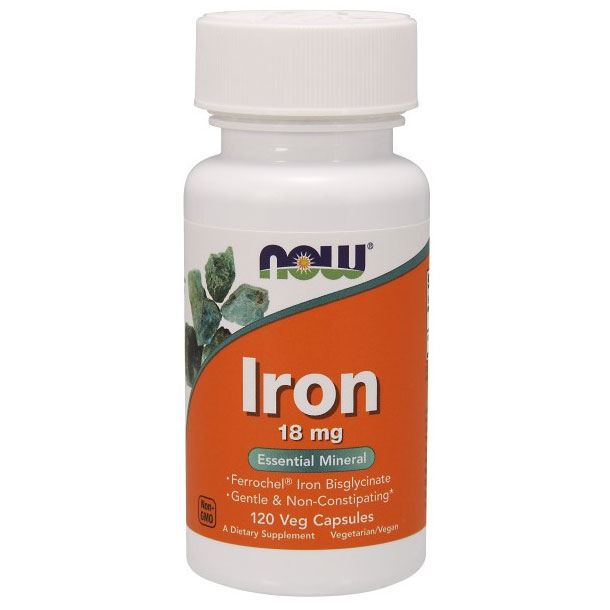Iron 18 mg Ferrochel, 120 Vcaps, NOW Foods