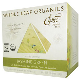 Whole Leaf Organics, Jasmine Green, 15 Tea Bags, Choice Organic Teas