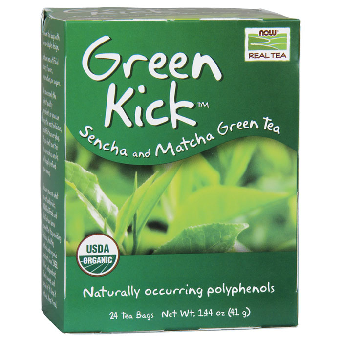Green Kick Tea, Sencha and Matcha Green Tea, 24 Tea Bags, NOW Foods