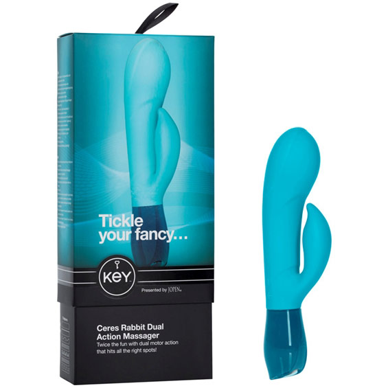 Jopen Key Ceres Rabbit Dual Action Massager Vibrator - Blue
