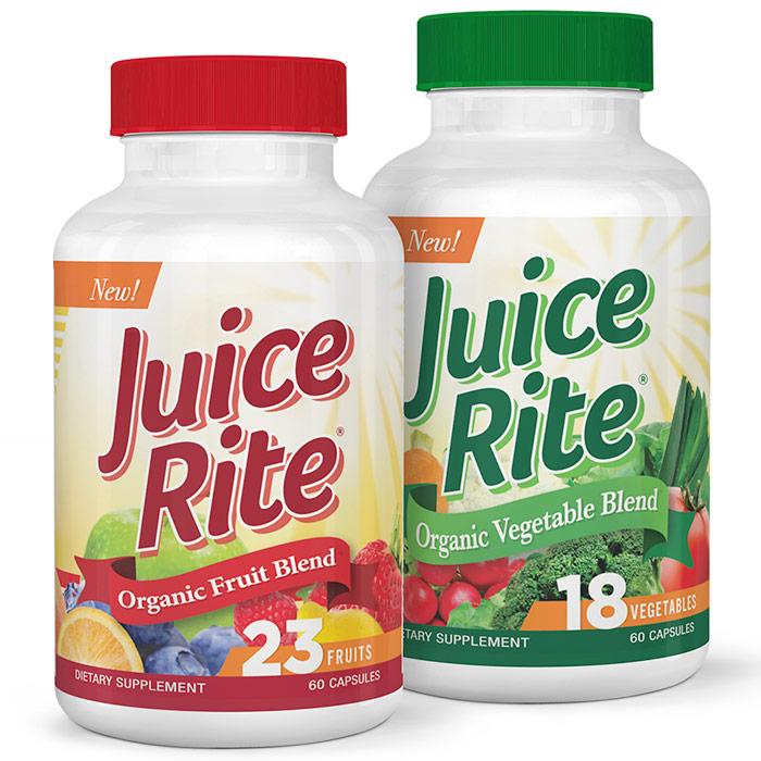 Juice-Rite Organic Fruit Blend & Vegetable Blend, 60 Capsules + 60 Capsules, Newton-Everett