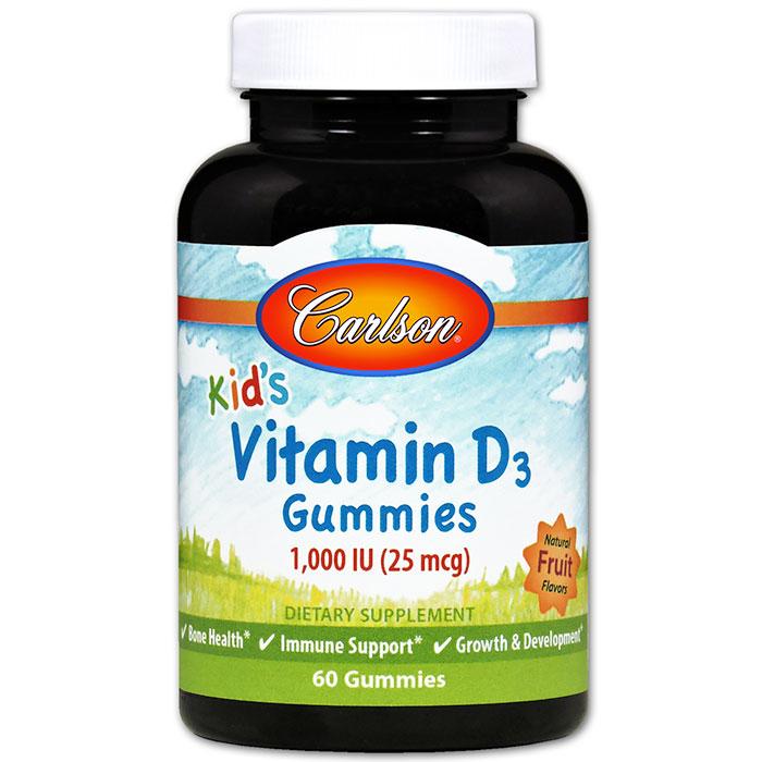 Kids Vitamin D3 Gummies Chewable - Natural Fruit Flavors, 60 Gummies, Carlson Labs