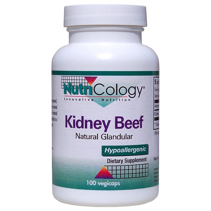 Kidney Beef Natural Glandular, 100 Capsules, NutriCology