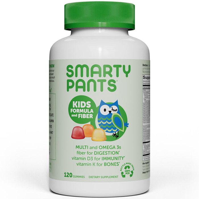 Kids Fiber Complete Gummies (Multivitamin + Omega 3 + Vitamin D + Fiber), 120 Gummies, SmartyPants Vitamins