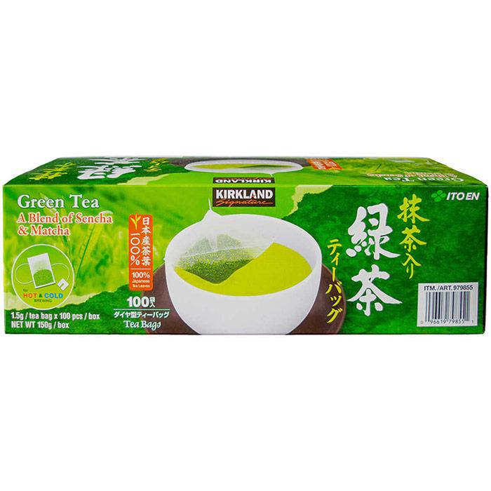 Kirkland Signature Green Tea Matcha Blend, 100% Japanese Tea Leaves, 100 Tea Bags