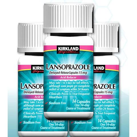 Kirkland Signature Lansoprazole Acid Reducer, Delayed-Release, USP 15 mg, 14 Capsules x 3 Bottles