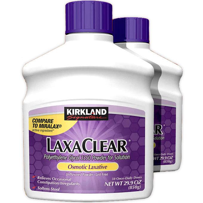 Kirkland Signature LaxaClear Polyethylene Glycol 3350 Powder for Solution, 29.9 oz x 2 Bottles