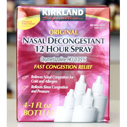 Kirkland Signature Original Nasal Decongestant 12 Hour Spray, 1 oz x 4 Bottles