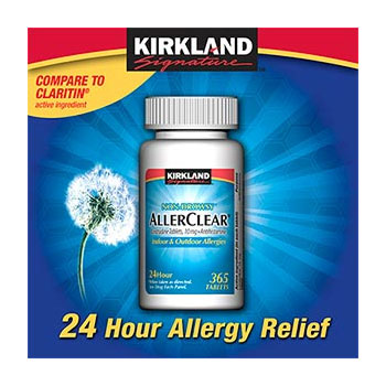 Kirkland Signature AllerClear Non-drowsy - 180 Tablets Loratadine 10mg - 24 Hour Allergy Relief