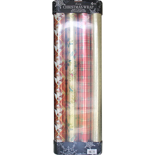 Kirkland Signature Christmas Wrap, Luxury Gift Wrap, 180 SQ. FT. Total (4 Rolls)
