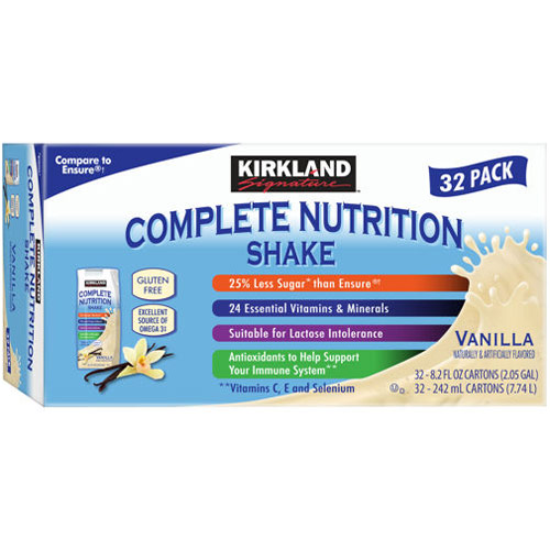 Kirkland Signature Complete Nutrition Shake, Vanilla, 32 Pack (8.2 oz Each)
