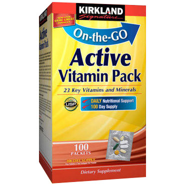 Kirkland Signature Active Vitamin Pack, High Potency Energy Multivitamin, 100 Packets