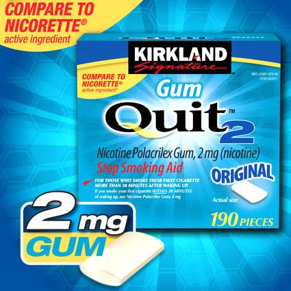 Kirkland Signature Quit2 Nicotine Polacrilex Gum 2 mg, Stop Smoking Aid, 380 Pieces Health Fitness Skin Care Beauty Supply Deals