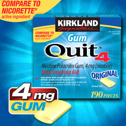 Kirkland Signature Quit4 Nicotine Polacrilex Gum 4 mg, Stop Smoking Aid, 380 Pieces Health Fitness Skin Care Beauty Supply Deals