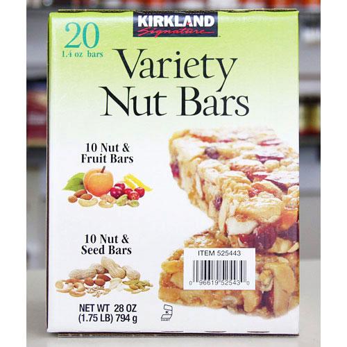 Kirkland Signature Variety Nut Bars (Nut & Fruit Bars and Nut & Seed Bars), 20 Bars x 1.4 oz